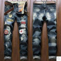 Wholesale Corduroy Jeans - 28-34 Big Size Euro True size Distressed Holes jeans men Ripped Jean Pants Adult Black Trousers Male Vintage blue denim Jeans