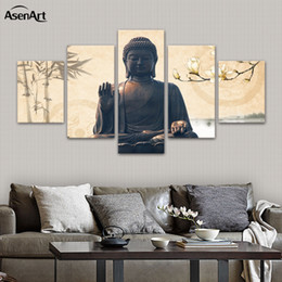 Wholesale Large Modern Wall Art Canvas - Large 5 Piece Buddha Wall Art Picture Modern Canvas Print Religion Canvas Art Home Decor Living Room Bedroom Dropshipping