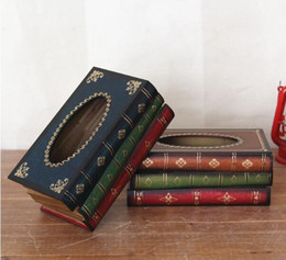 Wholesale Paper Seat - Retro tissue box European antique wooden paper box simulation of books crafts large napkin box book shape handkerchief case