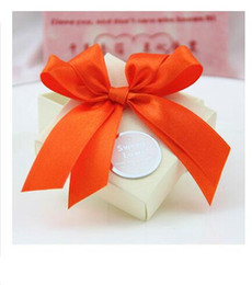 Wholesale October Party - 50Pcs Lot double Bow Candy Boxes Custom Silk Ribbons color Wedding Favor Holders Gift Box 2015 October Style