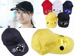 Wholesale Solar Table Fan - Wholesale-Women Men Unisex Summer Casual Cool Solar Fan Baseball Cap Golf Outdoor Sport Cotton Hat Free Shipping