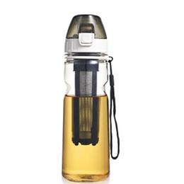 Canada Bouteille d'eau en plastique portable avec couvercle, infuseur à thé et corde, 550 ml, couleur rouge, couleur noire Offre