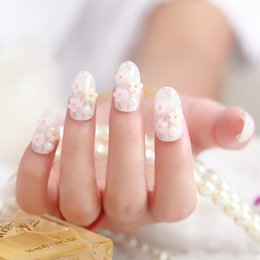Wholesale Pearl Nail Stickers - Wholesale-20sets lot Bridal False Nail Tips Flower Pearls Nail Stickers False Nails Tips Girls Beauty Accessories HH305