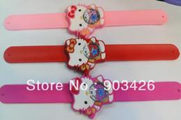 Wholesale Slap Watch Kitty - Free shipping by DHL!100pcs lot ! Hello Kitty Chidren Slap Watch Cartoon Wristwatch Slicone Snap Watch G2745 on Sale Wholesale 1219#19