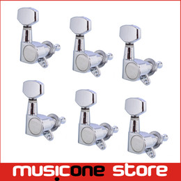 Wholesale Guitar Tuner Machine Heads - 6R Chrome Inline Guitar String Tuning Pegs Keys Tuners Machine Heads for Strat Tele Style Electric Guitar Free shipping MU0475