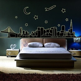 Wholesale Building Murals - Glow In the Dark NYC New York Skyline Wall Stickers Decal Luminous Downtown Cityscape Stars Moon Airplane Bridge Building Wall Murals Decor