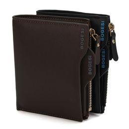 Wholesale Mens Multi Card Wallet - 2016 luxury wallet Bogesi Man Wallet Short Purse Bifold Mens Solid Leather Wallets Multi Slot Pocket Credit Card Photo Holder Zipper Pouch