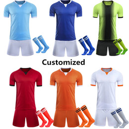 Wholesale Orange Team Names - 2017 2018 Soccer Jerseys Set Camiseta de futbol Top Quality Customized Name and Number for any Team Home Football Uniforms Kits with Socks