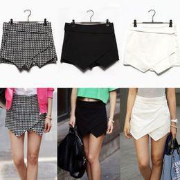 Wholesale New Mini Skirts - 2014 new Fashion women mini shorts Irregular tiered short skirts white black Plaid Trousers Culottes chiffon pants XS-XL LD0627