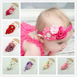 Wholesale Infant Flower Hair Clips - Baby headbands Baby Headwear Children Flower Pearl Infant Toddler Rose Girl Headband Clips Hairband Hair Band Accessories