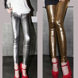 Wholesale Sexy Wet Look Leggings Pants - Sexy Shiny Tight Leggings Pants Wet Look Stockings Legwear Fashion Slim Thin Trousers Feet Women's Clothing
