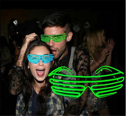 Wholesale Light Up Glasses Wholesale - 20pcs hot 10 COLORS El Wire Fashion Neon LED Light Up Shutter Shaped Glow Glasses Rave Costume Party DJ Flash SunGlasses D604