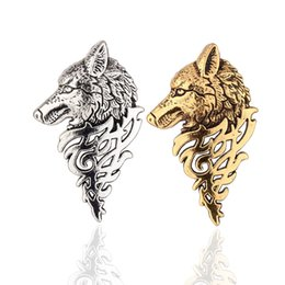 Wholesale Vintage Totem - 2016 Unisex JewelryRetro Vintage Style Personality Wolf Totem Head Brooch Badges Collar Jewelry For Men Wholesale 12 Pcs