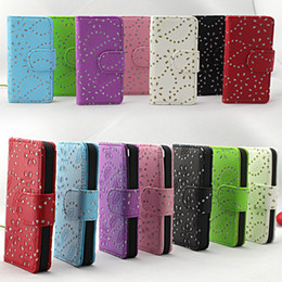 Wholesale Iphone Case Bling Starry - Wallet Flower Maple Starry Diamond Bling Glitter Flip PU Leather Case Cover With Card Slots Stand Holders For iPhone 6 Plus 4.7   5.5
