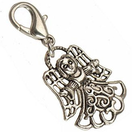 Wholesale Diy Clothes Accessories Metal - DIY Angel Charms With Clasps Crafts Clothes Necklace Pendants Bracelets Vintage Silver Religious Girls Wing Metal Jewelry Accessories 100pcs