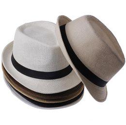 Wholesale Braid Fedora - Men Women Panama Straw Hats Fedora Stingy Brim Hats Soft Vogue For Unisex 5 Colors Summer Sun Beach Caps Linen Jazz