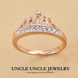 Wholesale Ladies Gold Wedding Rings - Rose Gold Color Rhinestones Retro Princess Crown Design Lady Finger Ring 18krgp