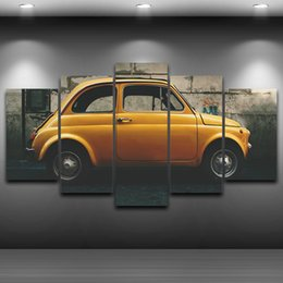 Wholesale Large Yellow Abstract Oil Painting - Vintage Car LARGE 60x32 Inches 5Panels Art Canvas Print Yellow Old Vintage Car Poster Wall Home Decor interior (No Frame)