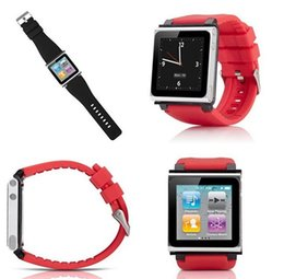 Wholesale Mp4 Covers - DHL Multi-Touch iWatchz bracelet wrist Watch band Strap Rubber Cover case lock For Apple iPod Nano 6 mp4 player with Retail box