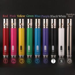 Wholesale Ego Twist Led - GS eGo II Twist VV 2200mAh 3.3V-4.8V Variable Voltage eGo Battery Carbon Fible Printing 9 Colors Available LED Power Indication