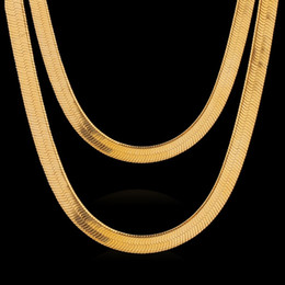 Wholesale Real Hip Hop Chains - Mens Gold Snake Chains 18k Real Gold Plated Necklaces Basic Mens Necklaces Hip Hop Gold Necklaces For Unisex N1030107-60