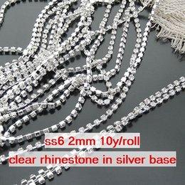Wholesale Diamante Rhinestone Yard - ss6 2mm Single-row Metal A grade clear Crystal Rhinestone Diamante Cup Chain one roll 10 yards lot free shipping