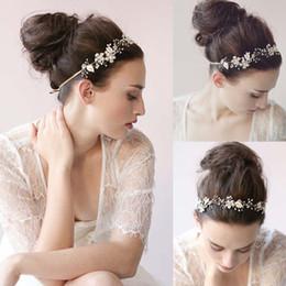 Wholesale Cheap Rhinestone Wedding Bands - Cheap 2015 Bridal Hair Band Pearls Crystal Hair Accessories Bridal Wedding Wear Hand Made Hair Tiaras Dhyz 01