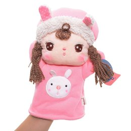 Wholesale Metoo Puppet - Wholesale-Adorable Metoo Winter Dress Pink Rabbit Girl Plush Hand Puppet 10'' For Brand New Year Gifts Children's Christmas