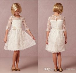 Wholesale Short Fairy Lights - 2015 Half Sleeve Lace Flower Girl Dresses Knee-length Fairy Lady Flowergirl Little Keyhole Sheer Back Simple Girl Party Dress Gown
