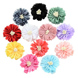 Wholesale Peony Hair Accessories Wholesale - Baby Girls Barrettes Multicolor Satin Simulation Peony Flower Ribbon Hairpin Children Waist Flower Handmade cloth flowers Hair Accessories