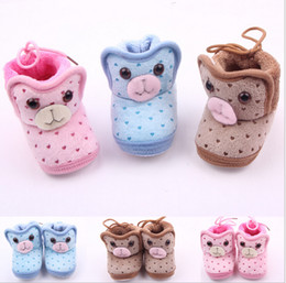 Wholesale Spotted Baby Shoes - 2015 Winter!Cartoon animal head warm baby shoes,coral fleece toddler shoes,love spot children indoor shoes,kids snow boots!9pairs 18pcs.ZH