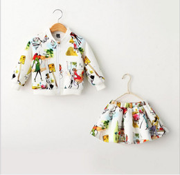 Wholesale Girls Skirt Coat - 2015 Autumn New Arrival Children Princess Sets Baby Girls Casual Suits Kids Long-sleeved Cartoon Zipper Coat+Skirts Two-piece Girl Outfits