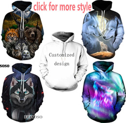 Wholesale 3d Sweaters - New Fashion Couples Men Women Unisex Animal Wolfs 3D Print Hoodies Sweater Sweatshirt Jacket Pullover Top S-6XL TT54
