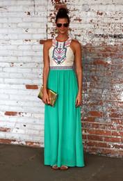 Wholesale Maxi Length - Wholesale-2016 summer style maxi dress women dresses Casual Pleated Print Sleeveless Tank O-Neck Chiffon Ankle-Length long Dress free ship
