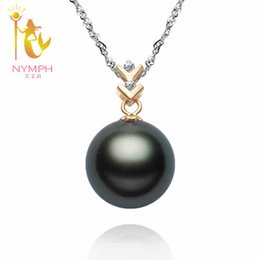 Wholesale Natural Round Tahitian Pearl - Wholesale-NYMPH brand Luxury big Natural Black Tahitian Pearl, 12-13 mm perfect round ,14K gold ,fine Jewelry,Hight Quality,free shipping