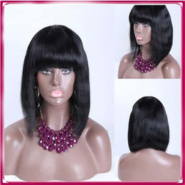 Wholesale Straight Bang Long Curly Wig - Silk Straight short hair Brazilian Virgin Hair Lace Front Wigs With Bangs