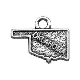 Wholesale Map Pendant Wholesaler - Hot Selling Handmade Double Sided Zinc Alloy Oklahoma Map Engraved Letter DIY Charm Pendants Jewelry