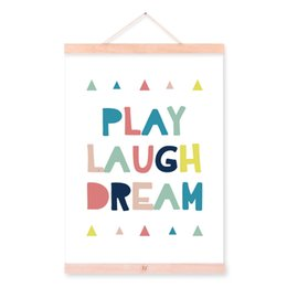 Wholesale Play Poster - Modern Motivational Typography Play Laugh Dream Quotes Wooden Framed Canvas Painting Kids Room Decor Wall Art Print Pictures Poster Hanger