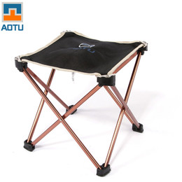 Wholesale Aluminium Squares - Wholesale-Outdoor Foldable Folding Fishing Picnic BBQ Garden Chair Tool Square Camping Stool 7075 Aluminium Alloy free shipping