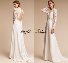 Wholesale Plus Size Crochet Skirt - Vintage Crochet Lace Holiday Beach Wedding Dresses with Long Sleeves 2018 BHLDN Hollow Out Country Boho Reception Wedding Dress for Bridal