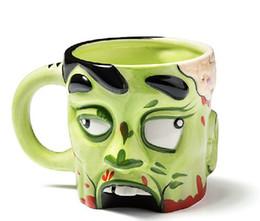 Wholesale Ceramic Drink Cup - Wholesale-Free Shipping 1 Piece 9oz Ceramic Zombie Mug   Ceramic Shrunken Zombie Head Liquid Drinking Cup hot sale