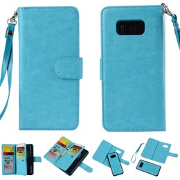 Wholesale Galaxy Note Detachable Case - 9 Credit Card Slots Cash Pocket Folio PU Leather Wallet with Detachable Magnetic Back Cover Case for Samsung Galaxy S8 S8 plus Note 8 S7 S6