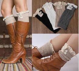 Wholesale Cuffed Boots - High Quality!2017 new hot sell leg warmers baby and women hollow-out lace Warm feet set of buttons Cotton short legs boot cuffs