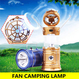 Wholesale Solar Camping Fans - Solar Powered With Fan Portable USB Phone Charge LED Light Collapsible Flashlight Hand Lantern Outdoor Camping Hiking Lamp