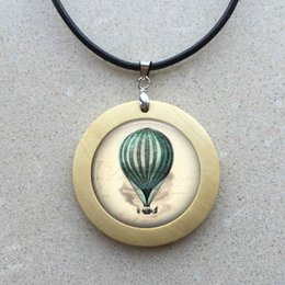 Wholesale Hot Air Balloon Necklaces - free shipping Wholesale girls glass cabochon necklace Hot Air Balloon jewelry art wooden pendant glass gemstone necklace 256