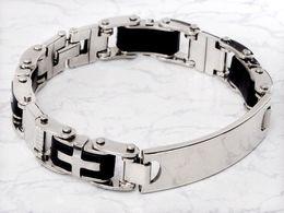 Wholesale Mens Id Cross Bracelet - Wholesale-Cool Mens Rubber Silver ID Cross Stainless Steel Chain Bracelet link Bangle