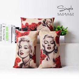 Wholesale Marilyn Print - Marilyn Monroe pillow cover, Vintage Rose Monroe cotton linen waist pillow cushion cover pillowcase home decor Wholesale