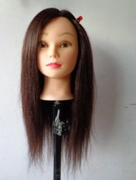 Wholesale female mannequin plastic - wholesale 1PC colorful female real 55CM hair wigs GIFT women model mannequins head hairdressing,face maked up with base plastic rack,M00672