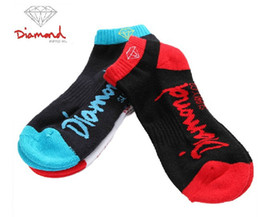 Wholesale Animal Print Supplies - Wholesale-24pcs=12pair cotton summer 3 colors loopy diamond supply CO thicken bottom hiphop Sport boat ankle Socks 24pcs lot