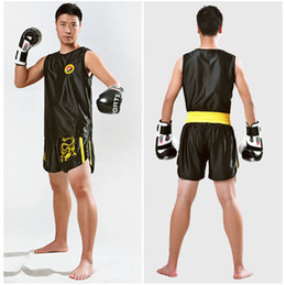 Wholesale Wushu Clothes - Kids Men Kick Boxing Uniforms Tank + Shorts MMA Muay Thai Boxing Suits Man Sanda Kungfu Wushu Suits Kids Boxing Wushu Clothes